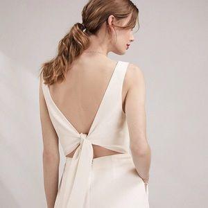 The White Company textured tie back dress Bone